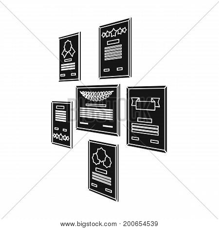 Certificate, diploma and license in a frame on the office wall. Office and interior single icon in black style Isometric vector symbol stock illustration .