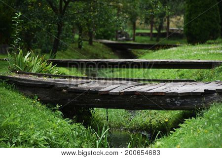 Old wooden bridges over the creek