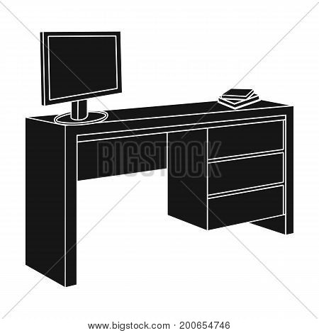 A desk with a computer and books. Furniture and interior single icon in black style Isometric vector symbol stock illustration .