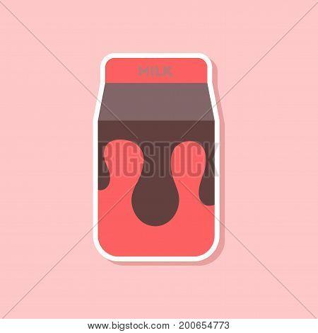 paper sticker on stylish background of coffee carton of milk