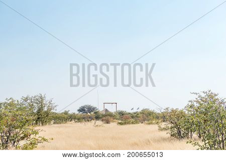 A view of the Olifantsrus Rest Camp in the Etosha National Park. A structure of the old elephant abattoir is visible