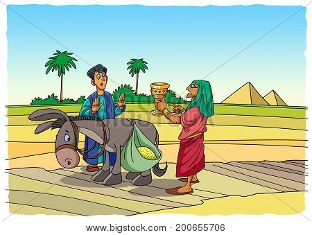 A biblical story about Joseph and his brothers. The servant found in the sack of Benjamin the favorite bowl of Joseph.