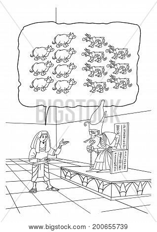The Biblical Joseph interprets the Pharaoh's Dream of seven fat and seven lean Cows.