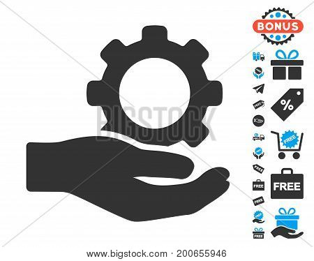 Engineering Service Gear Hand gray pictograph with free bonus pictograph collection. Vector illustration style is flat iconic symbols.