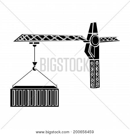 Moving the container with a tower crane. Moving and delivery single icon in black style isometric vector symbol stock illustration .