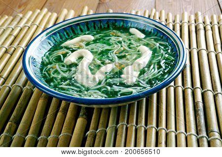 Ash reshteh Persian Noodle Soup.Iranian cuisine.  close up meal