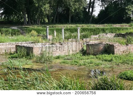 Ancient Dion's ruins flooded with the river. Piyeriya. Greece
