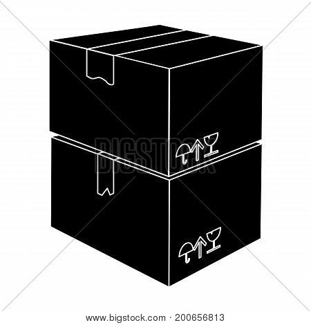 Packaged boxes with goods. Logistics delivery single icon in black style isometric vector symbol stock illustration .