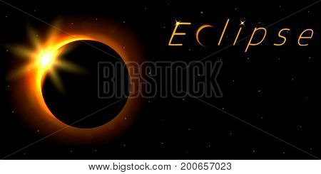Solar eclipse card with text. Astronomical phenomenon of the closing of the shining sun by the moon. Vector illustration.