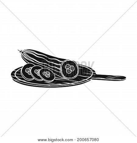 Cucumber, single icon in blakck style.Cucumber, vector symbol stock illustration .