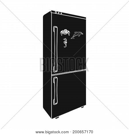 Refrigerator, single icon in blakck style.Refrigerator vector symbol stock illustration .