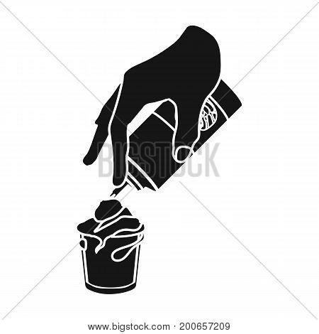 Preparation of a delicious dessert with cream. Dessert single icon in black style vector symbol stock illustration .