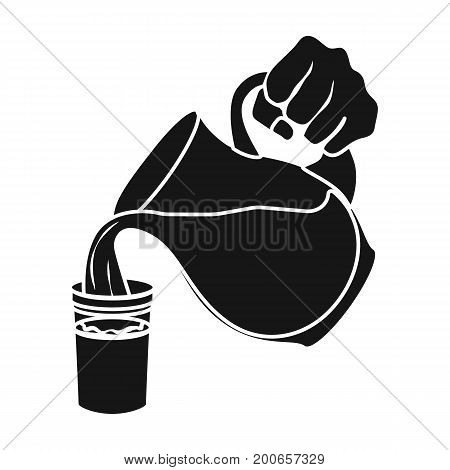 Dairy product in a jug. Food single icon in black style vector symbol stock illustration .