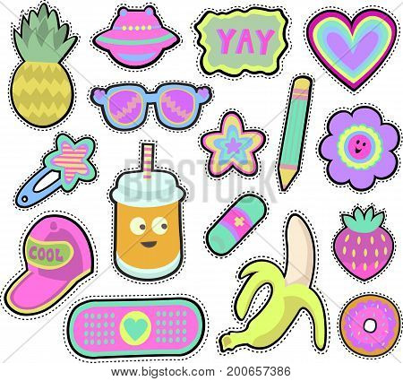 Cartoon kids stickers or patches set with pineapple, sunglasses, banana and other cute design elements in 80s 90s style.Isolated on white background. Vector