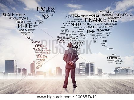 Businessman standing with back and looking at global business concept