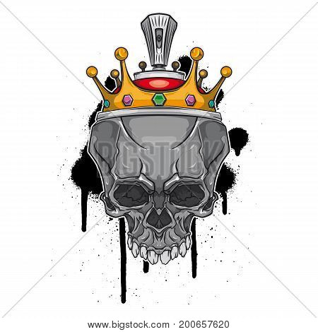 Vector skull with crown on graffiti background