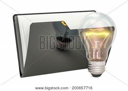 Black computer folder icon with lightbulb 3D rendering