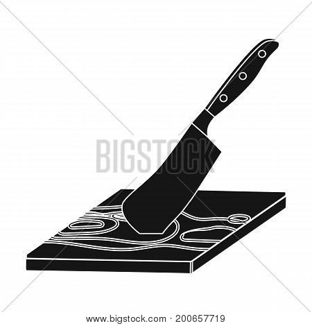 Board and cleaver for food processing. Food and cooking single icon in black style vector symbol stock illustration .