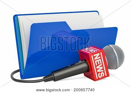 Blue computer folder icon with microphone news 3D rendering isolated on white background