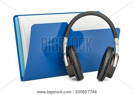 Blue music computer folder with headphones 3D rendering isolated on white background