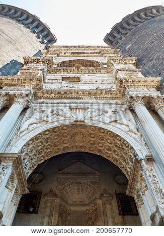 Triumphal arch in principal facade of Castel Nuovo, Maschio Angioino of Naples. Campania, Italy.