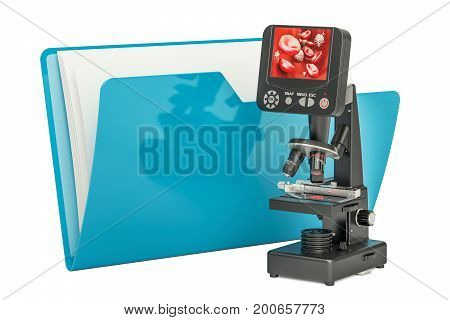 Computer folder icon with microscope 3D rendering isolated on white background