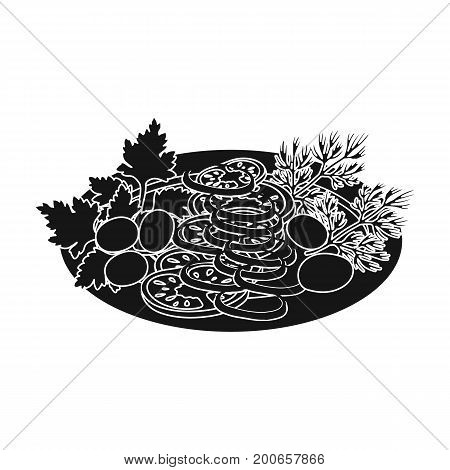 Vegetable salad. Food and cooking single icon in black style vector symbol stock illustration .