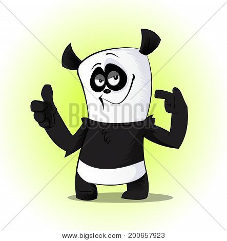 Cute and funny cartoon panda character showing thumb up. Cute panda bear character. Vector