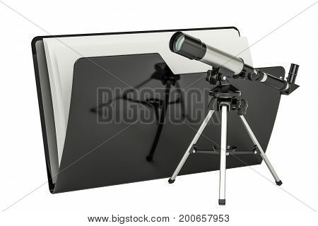 Computer folder icon with telescope 3D rendering isolated on white background