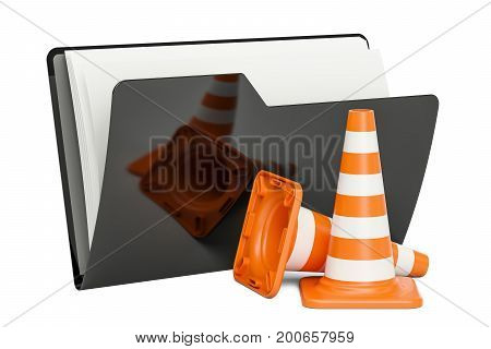 Computer folder icon with traffic cones 3D rendering isolated on white background