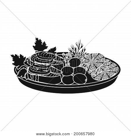 Eating fish and salad. Eating and cooking single icon in black style vector symbol stock illustration .