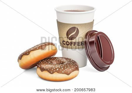 Disposable cup of coffee with chocolate donuts 3D rendering isolated on white background