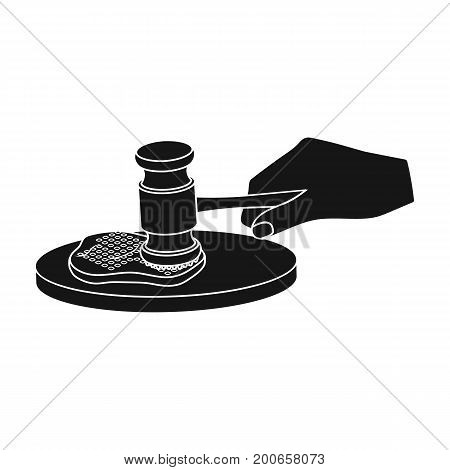 Cooking meat. Eating and cooking single icon in black style vector symbol stock illustration .