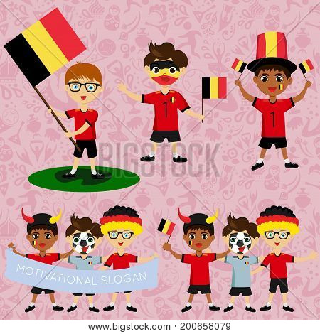 Set of boys with national flags of Belgium. Blanks for the day of the flag independence nation day and other public holidays. The guys in sports form with the attributes of the football team