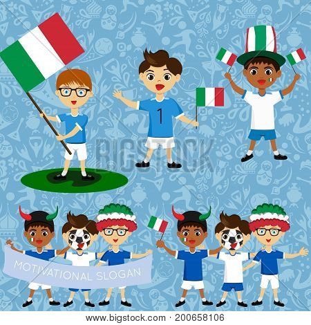 Set of boys with national flags of Italy. Blanks for the day of the flag independence nation day and other public holidays. The guys in sports form with the attributes of the football team