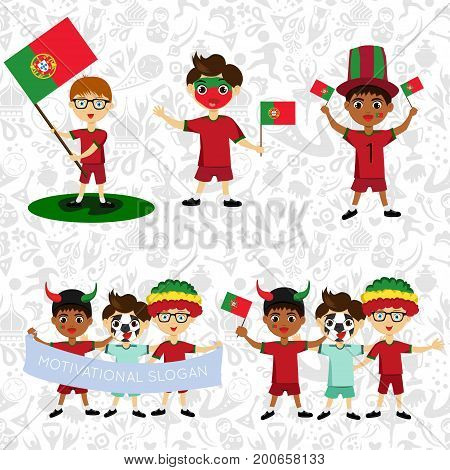 Set of boys with national flags of Portugal. Blanks for the day of the flag independence nation day and other public holidays. The guys in sports form with the attributes of the football team