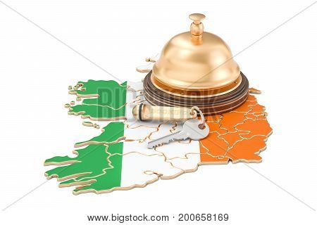 Ireland booking concept. Irish flag with hotel key and reception bell 3D rendering