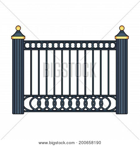 A fence of metal . A different fence single icon in cartoon style vector symbol stock illustration .