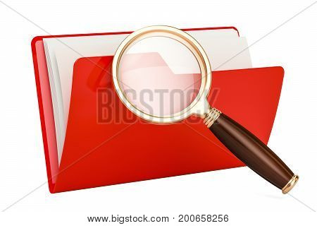 Red computer folder icon with magnifier 3D rendering isolated on white background