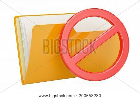 Yellow computer folder icon with forbidden sign 3D rendering
