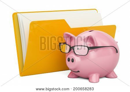 Yellow computer folder icon with piggy bank 3D rendering isolated on white background