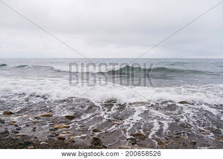 Storm on the black sea in winter.