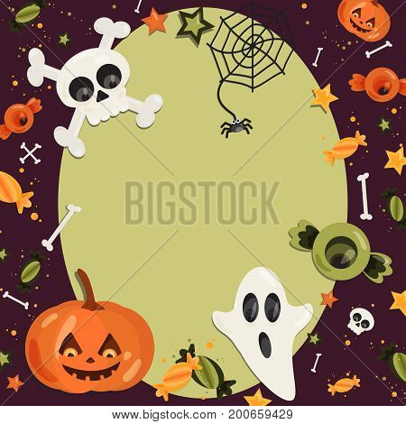 Halloween cartoon art in flat style. Green background, frame with cute ghost, pumpkin, eye, bone, skull, sweet for text and design. Vector illustration.