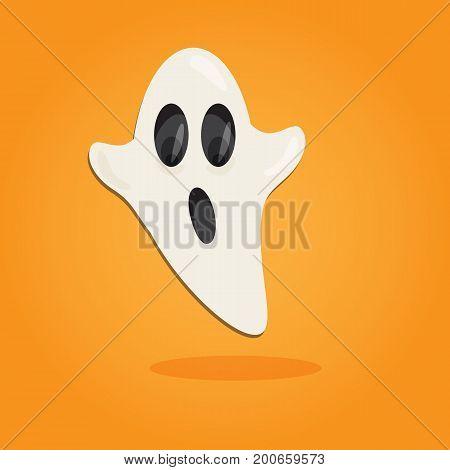 Halloween cartoon art in flat style. Orange background, Cute ghost Vector illustration.