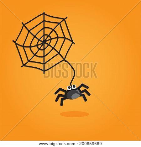 Halloween cartoon art in flat style. Orange background, Cute spider for design. Vector illustration.