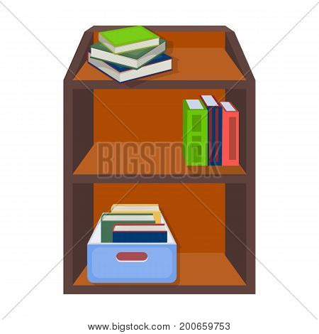 A rack with books and documents. Office furniture single icon in cartoon style Isometric vector symbol stock illustration .