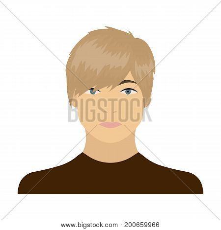 The face of a young guy. Face and appearance single icon in cartoon style vector symbol stock illustration .