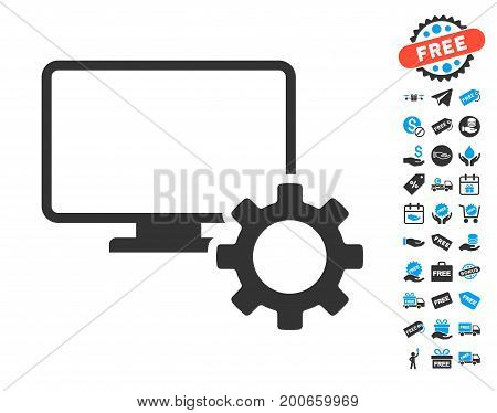 Desktop Options Gear grey pictograph with free bonus pictures. Vector illustration style is flat iconic symbols.