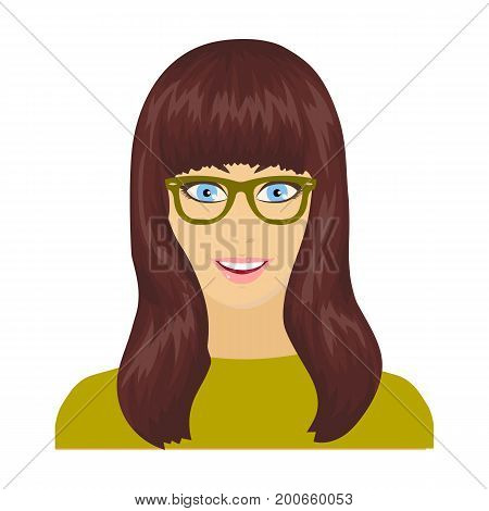 The girl's face is wearing glasses. Face and appearance single icon in cartoon style vector symbol stock illustration .