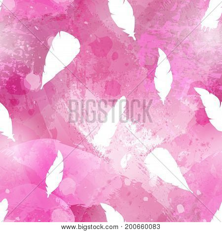 Abstract watercolor seamless pattern with birds feathers. Acrylic or watercolour brush strokes blots and drops. Perfect for textile flyers business cards background